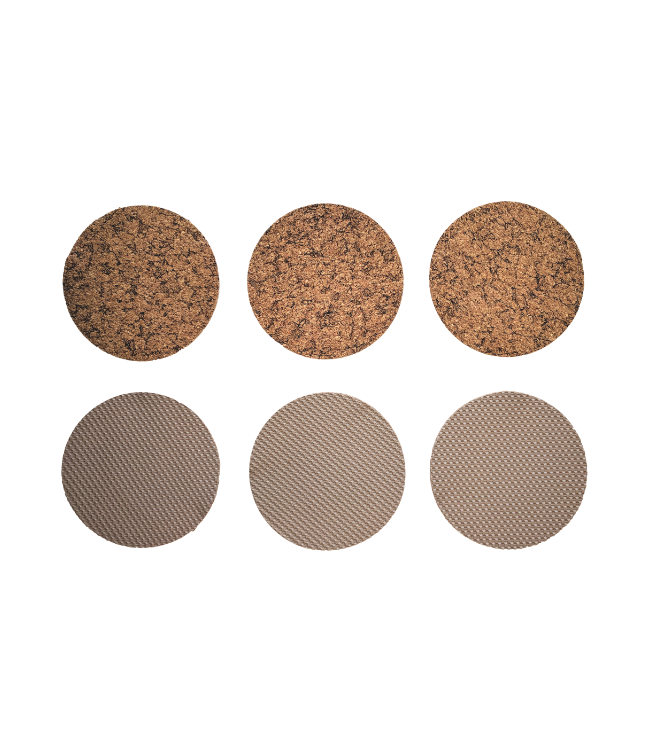 COASTERS - NON-SKID - ROUND - 16SETS/6PC. - NATURAL CORK