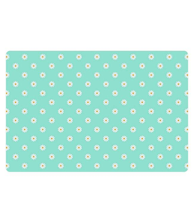 PLACEMATS - NON-SKID - 30x45CM - 12PC.-SMALL DAISY TURQUOISE