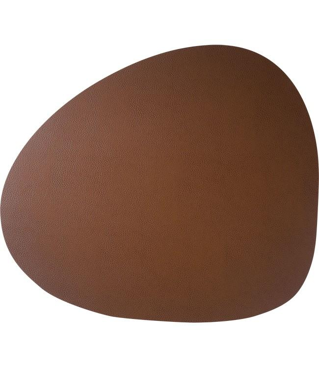 SKINNATUR - coaster pebble - 13x11cm - 12pc - COGNAC
